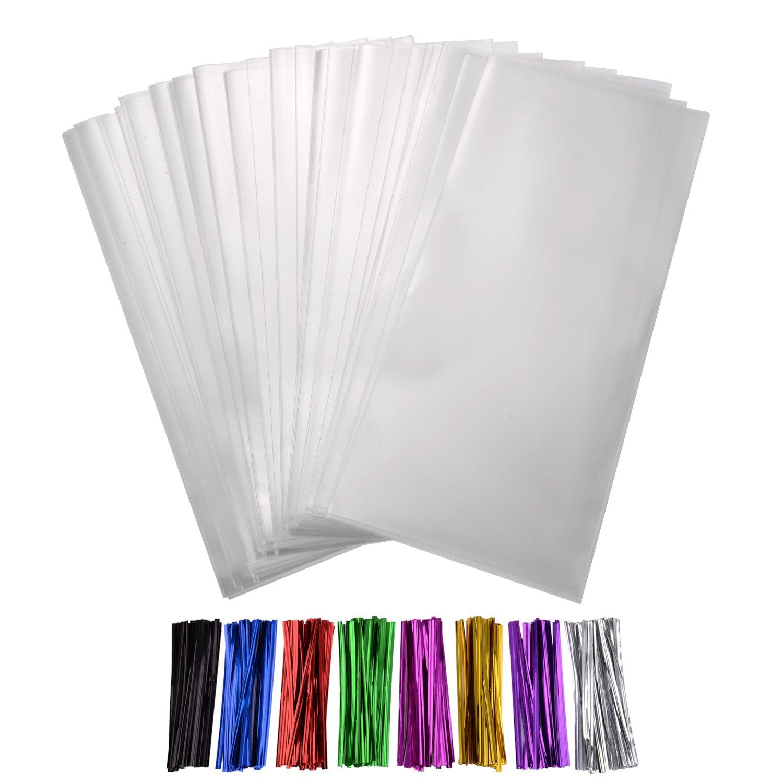 200 Klar Cellophanbeutel Tasche 4 x 9 Zoll mit 8 Mischfarben Twist Krawatten 4 Zoll für Hochzeit Plätzchen Geschenk Candy und Buffet Versorgung Shappy
