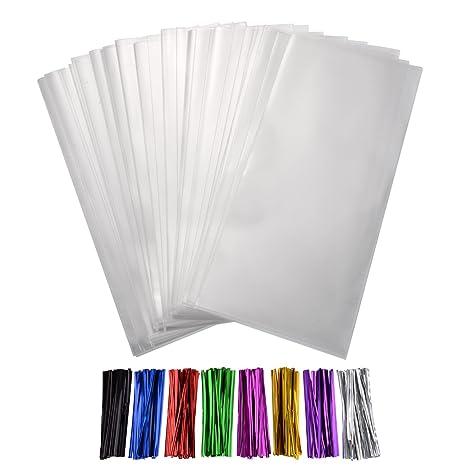 300 Piezas Bolsas Transparentes de Dulces Bolsa OPP Gruesa 4 por 6 Pulgadas con 8 Colores Precintos para Galletas Regalos Caramelos de Boda Materiales ...