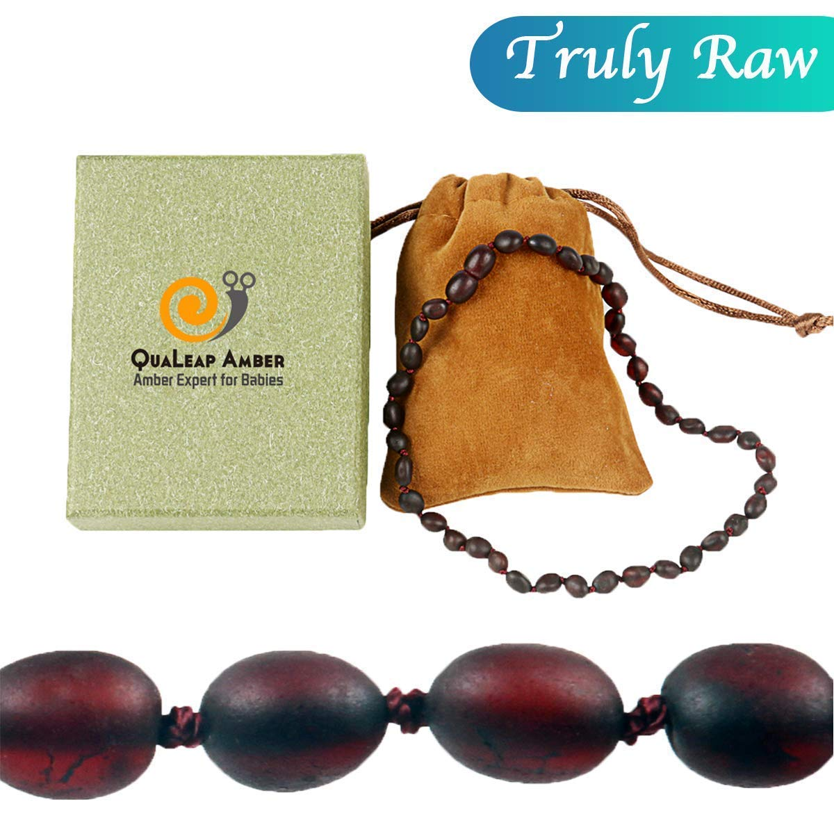 Raw Baltic Amber Teething Necklace for Baby (Unisex - Raw Cherry - 12.5 Inches), 100% Authentic Unpolished Amber Necklace for Infant & Toddler Teething by QUALEAP AMBER