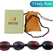 Raw Baltic Amber Teething Necklace for Baby (Unisex - Raw Cherry - 12.5 Inches), 100% Authentic Unpolished Amber Necklace for Infant & Toddler Teething Relief