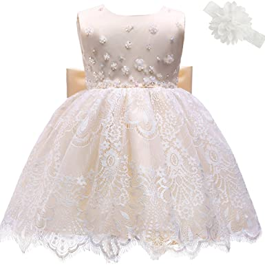 9505d53986e1 AHAHA Champagne Gold Baby Girl Princess Wedding Dresses Baptism Christening  Baby Birthday Party Dress: Amazon.co.uk: Clothing