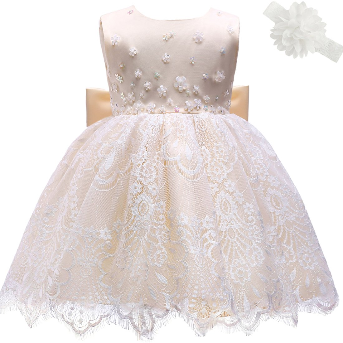 Moon Kitty Baby Girl Newborn 3D Flower Party Dresses Pagent Lace Dress Gown for Baby Girls  Champagne 18M/15-20Month