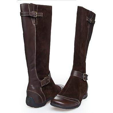 e7349302020 Scholl Islington f23113 1019 Chaussures Bottes pour Femme Marron Daim Cuir  - Marron - Marron foncé