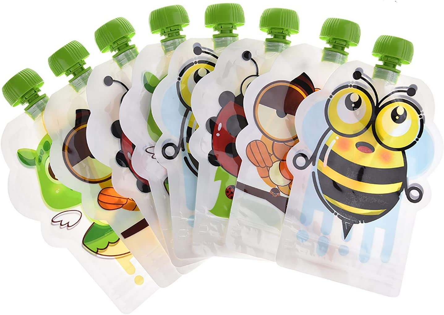 DealmerryUS 8 Pcs 150ml Reusable Baby Food Squeeze Storage Pouches,BPA-Free Reusable Sealed Complementary Food Pouch Storage Bag Great for Kids and DIY Homemade Organic Puree