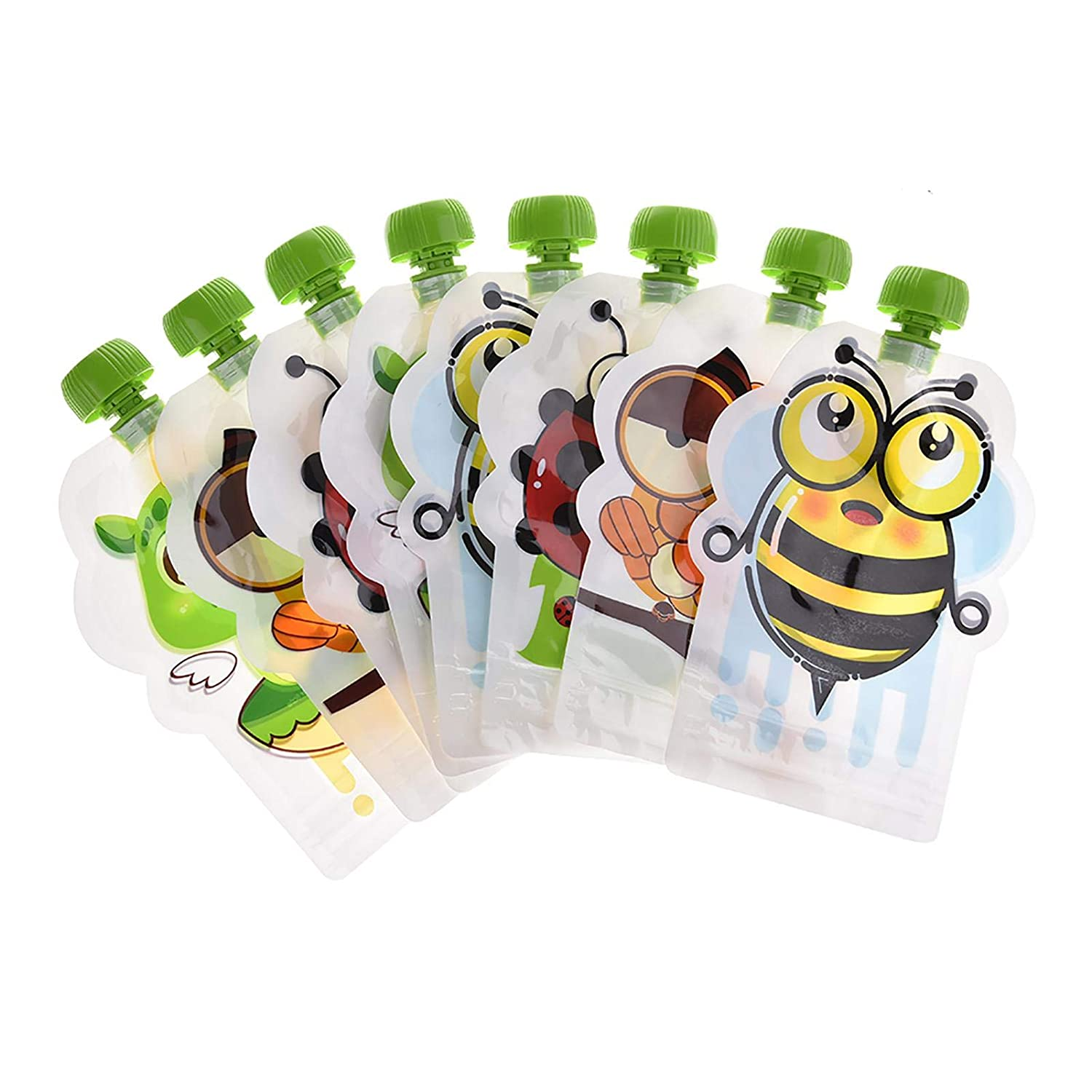 Reusable Baby Food Pouches, Baby Food Pouch Starter Set of 8 Pcs Baby Snack Containers, BPA-Free Sealed Food Pouches Set, Spill Proof, Double Zipper, Holds 5oz
