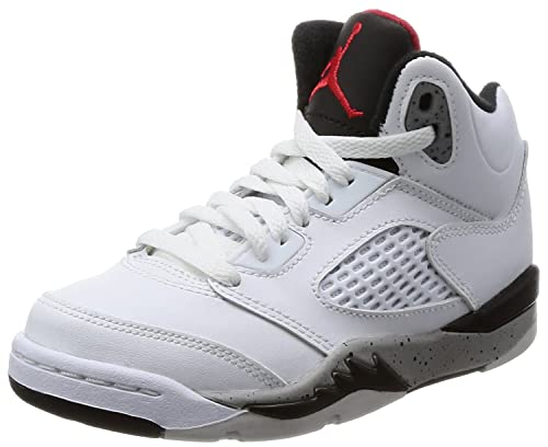 "ad78af308c5 Jordan Retro 5"" Cement White/University Red-Black (Little Kid) ("