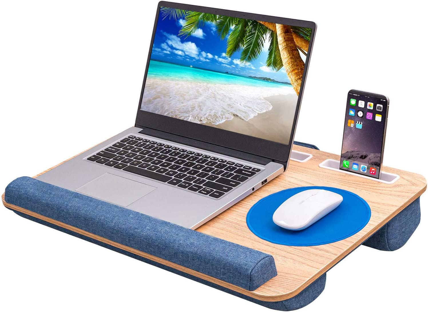 DERIMIZZ Home Office Lap Desk with Cushion-Portable Laptop Desk Tray Fits up to 17 inch Laptops, Built-in Mouse Pad and Wrist Rest for MacBook and Notebook, Laptop Pad with Slots for Phone and Tablet