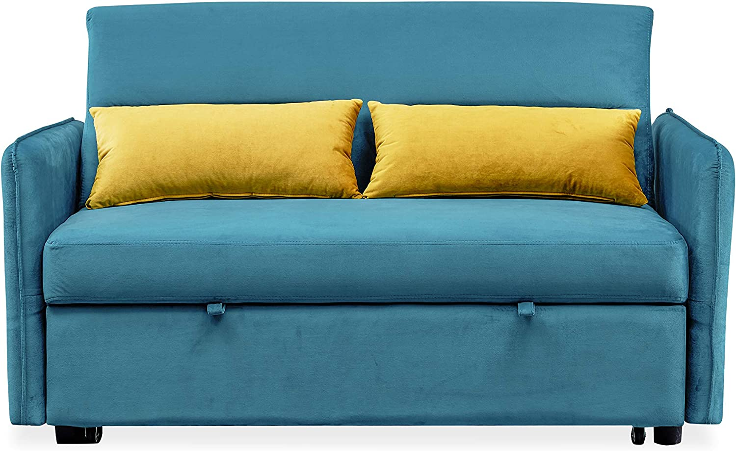 Merax Sleeper Couch Small Velvet Sofa for Living Room Or Bedroom Including Pull Out Bed and 2 Sofabed, Compact, Blue