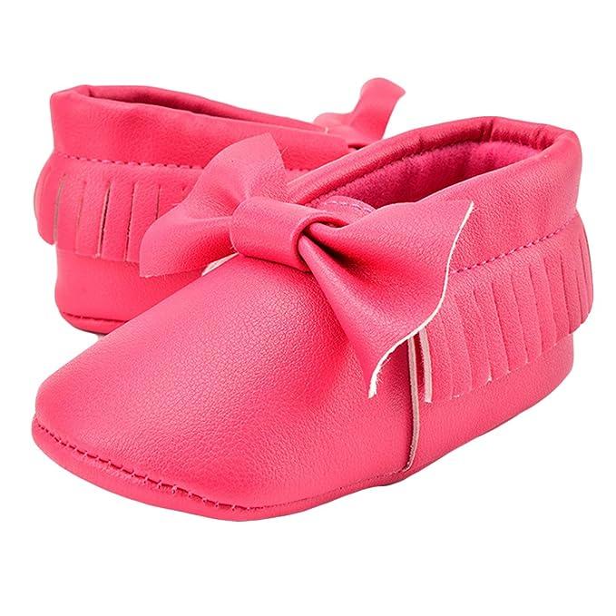 Good Night Zapatos lindos del pesebre de los mocasines de la PU de Bowknots borla suave