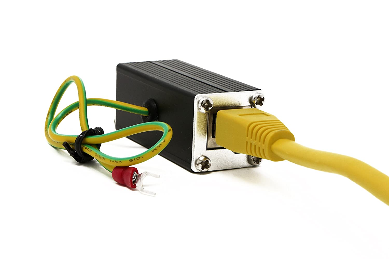 Tupavco Ethernet Surge Protector Poe Gigabit 1000mbs Verizon Fios Cat5e Wiring Diagram Rj 45 Lan Network Thunder Lightning Suppressor Arrester Protection Tp302