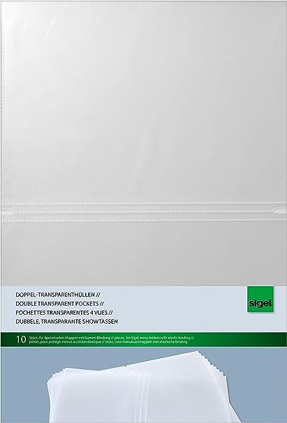 10 unds. Sigel SM180 Fundas dobles transparentes para A4