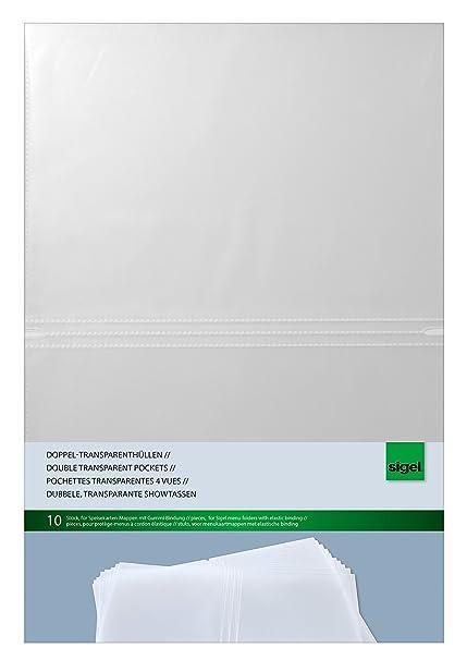 SIGEL SM180 Fundas dobles transparentes, , para A4, 10 unds.