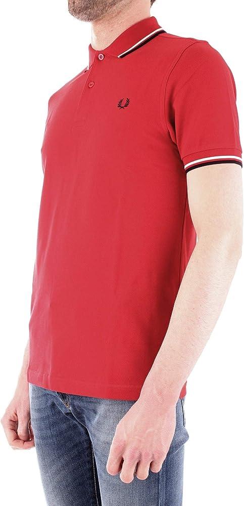 Fred Perry Hombres Camisa de Polo con Doble Punta m3600 401 Rojo S ...