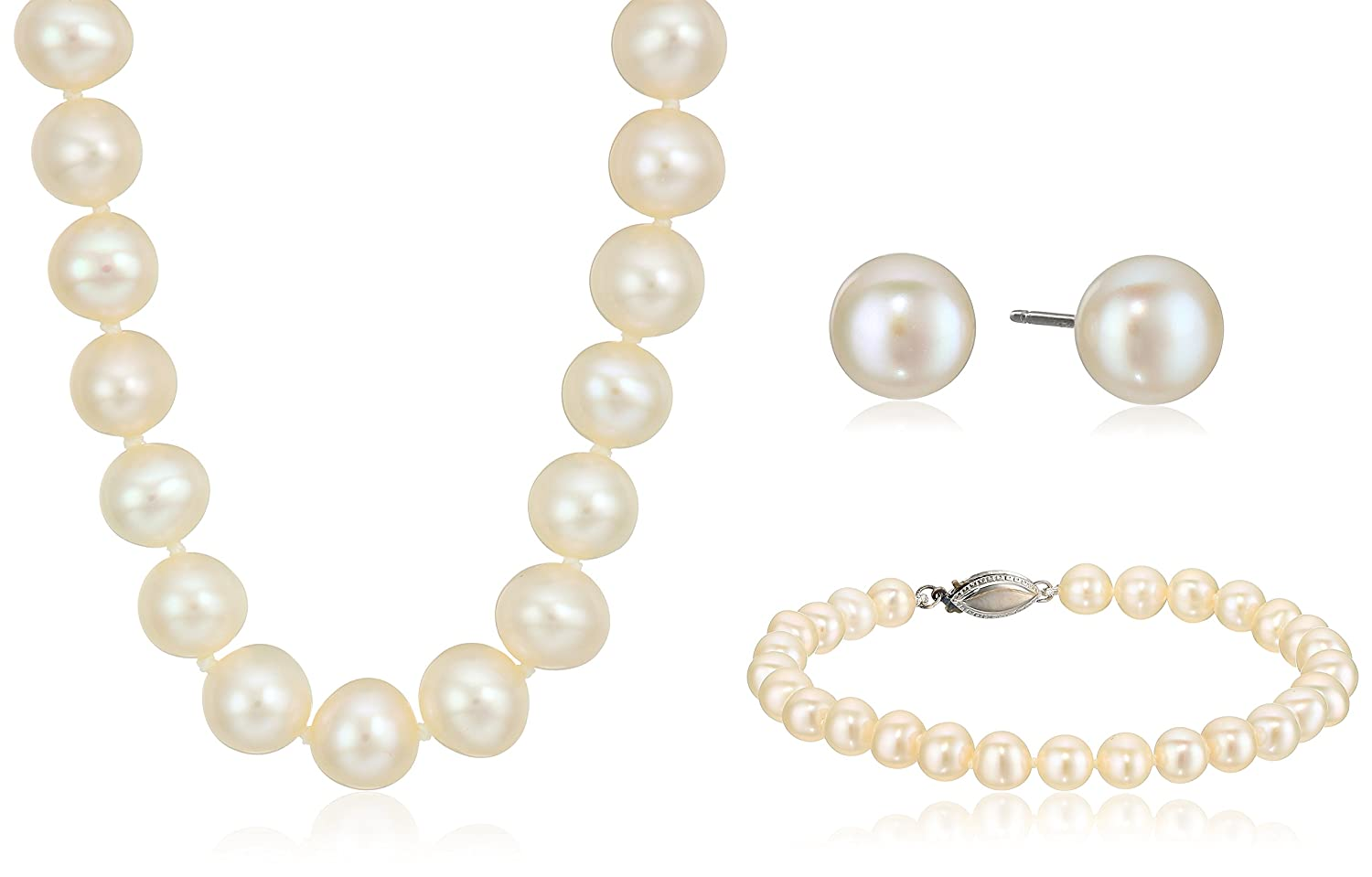 Sterling Silver White 6-7mm Freshwater Cultured Pearl Necklace, Bracelet and Earrings Set Amazon Collection QSET-10438-AM