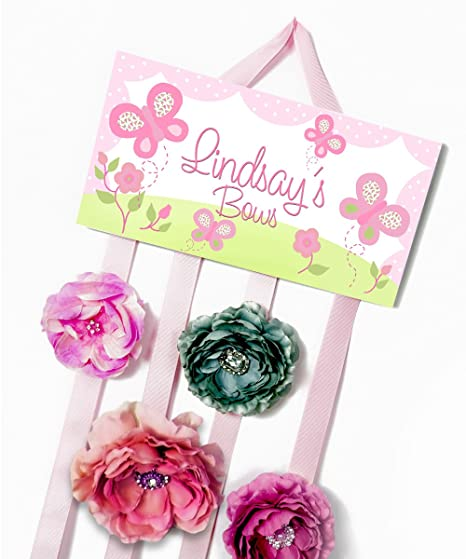 f584dd9cc0b847 Amazon.com: HAIR BOW HOLDER - Personalized Lots of Pink Butterfly ...