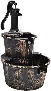 XtremepowerUS 2-Tier Fountain Rustic Wood Barrel Water Fountain Outdoor Garden Decor w/Pump