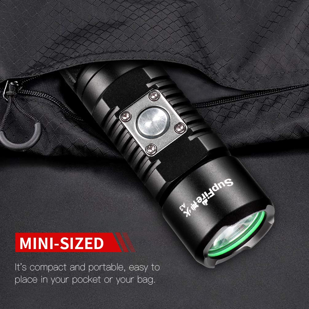 Brightest Flashlight,Cree Led High Lumens Torch Flashlight Waterproof Rechargeable Tactical Flashlight with 18650 Battery and Mirco USB for Biking,Walking,Outdoor,Gift-Giving 5 Modes
