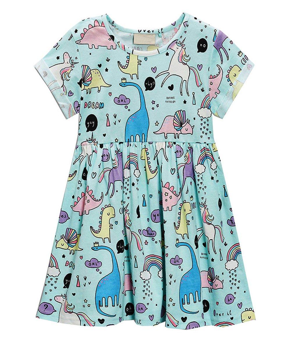 JiaYiYi Girls Dinosaur Casual Dresses Cotton Summer Short Sleeve Skirt Dress for Kids Size 2T-7T (2T, Blue)