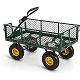 iKayaa Utility Garden Wagon Carts 660lbs Capacity Steel Heavy-duty Outdoor Yard Cart W/ Removable Sides