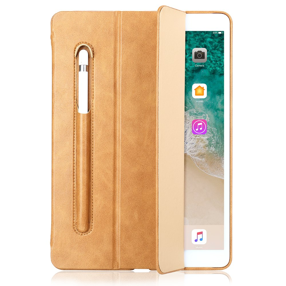 Light Brown TechCode iPad Case 9.7 , 2018 iPad 9.7 Case, iPad 9.7 2017 Case, Portable Ultra Slim Lightweight Flip Folio PU Leather Predective Stand Case Cover with Pencil Holder for 2017 2018 iPad 9.7 (Black)