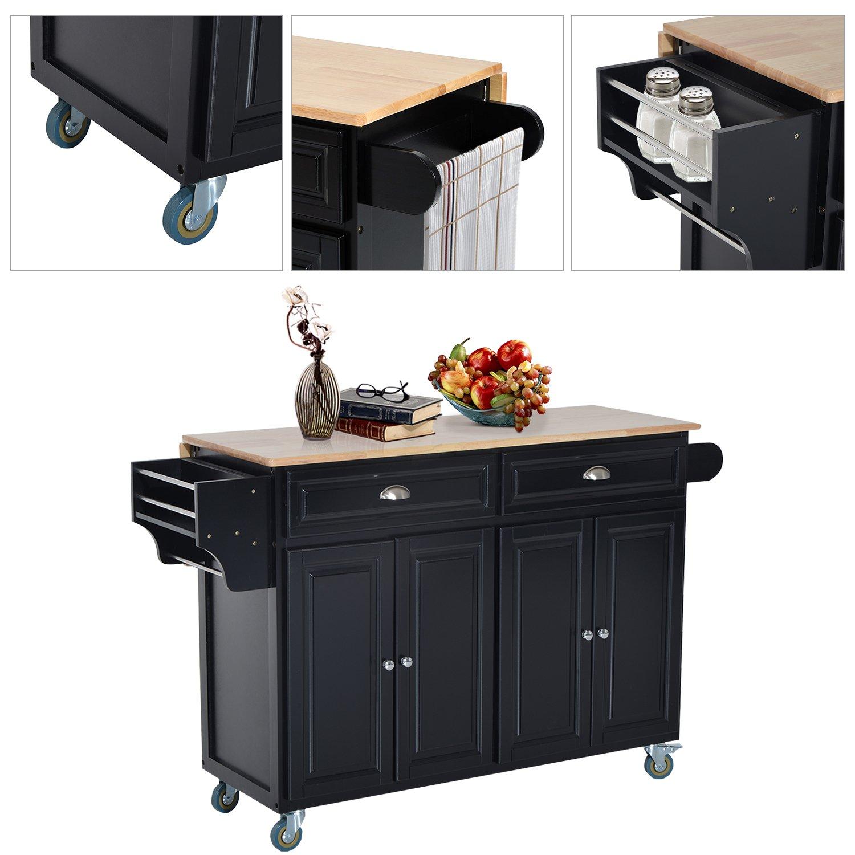HOMCOM Wood Top Drop-Leaf Rolling Kitchen Island Table Cart on Wheels - Black by HOMCOM (Image #3)