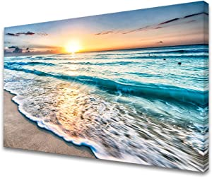 Baisuart S02269 Canvas Prints Wall Art Beach Sunset Paintings Ocean Waves Nature Pictures Stretched Canvas Wooden Framed for living Room Bedroom and Home Office Wall Decor Posters