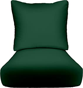 """RSH Décor Indoor Outdoor Deep Seating Cushion Set, 24""""x 24"""" x 5"""" Seat and 25"""" x 21"""" Back, Choose Color (Hunter Green)"""
