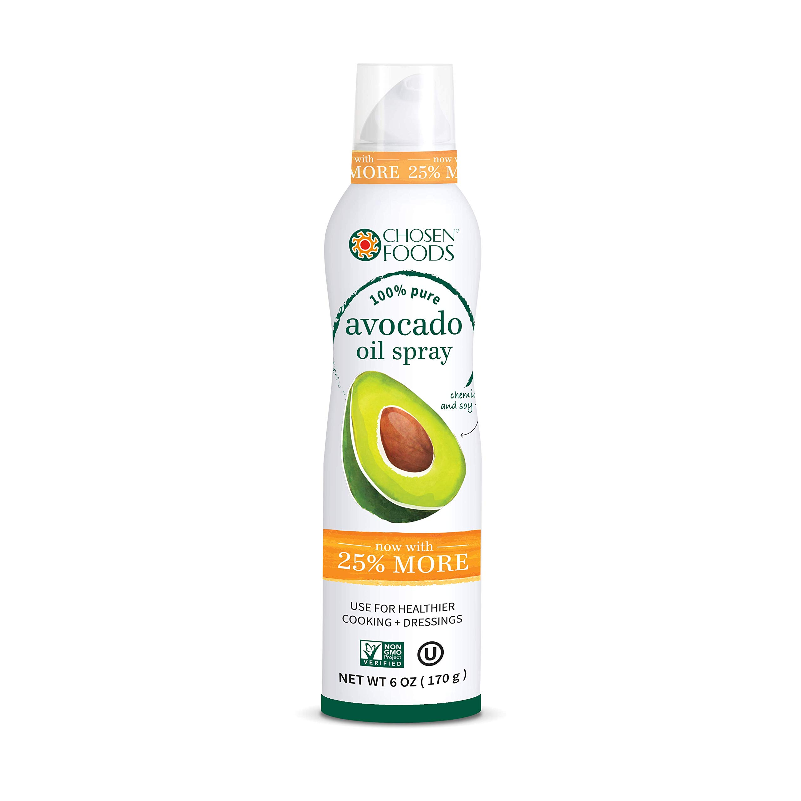 Chosen Foods 100% Pure Avocado Oil Spray 6 oz. (3 Pack), Non-GMO, 500° F Smoke Point, Propellant-Free, Air Pressure Only for High-Heat Cooking, Baking and Frying (3) by Chosen Foods