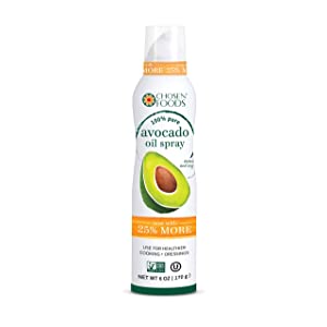 Chosen Foods 100% Pure Avocado Oil Spray 6 oz. (3 Pack), Non-GMO, 500° F Smoke Point, Propellant-Free, Air Pressure Only for High-Heat Cooking, Baking and Frying (3)