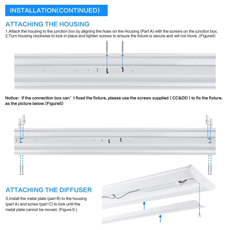 AntLux 4FT LED Wraparound Light Fixture 50W Ultra Slim LED Shop Lights for Garage, 5500 Lumens, 4000K Neutral White, 4 Foot Flush Mount Office Ceiling LED Wrap Light for Workshop Kitchen, 8 Pack by ANTLUX (Image #8)