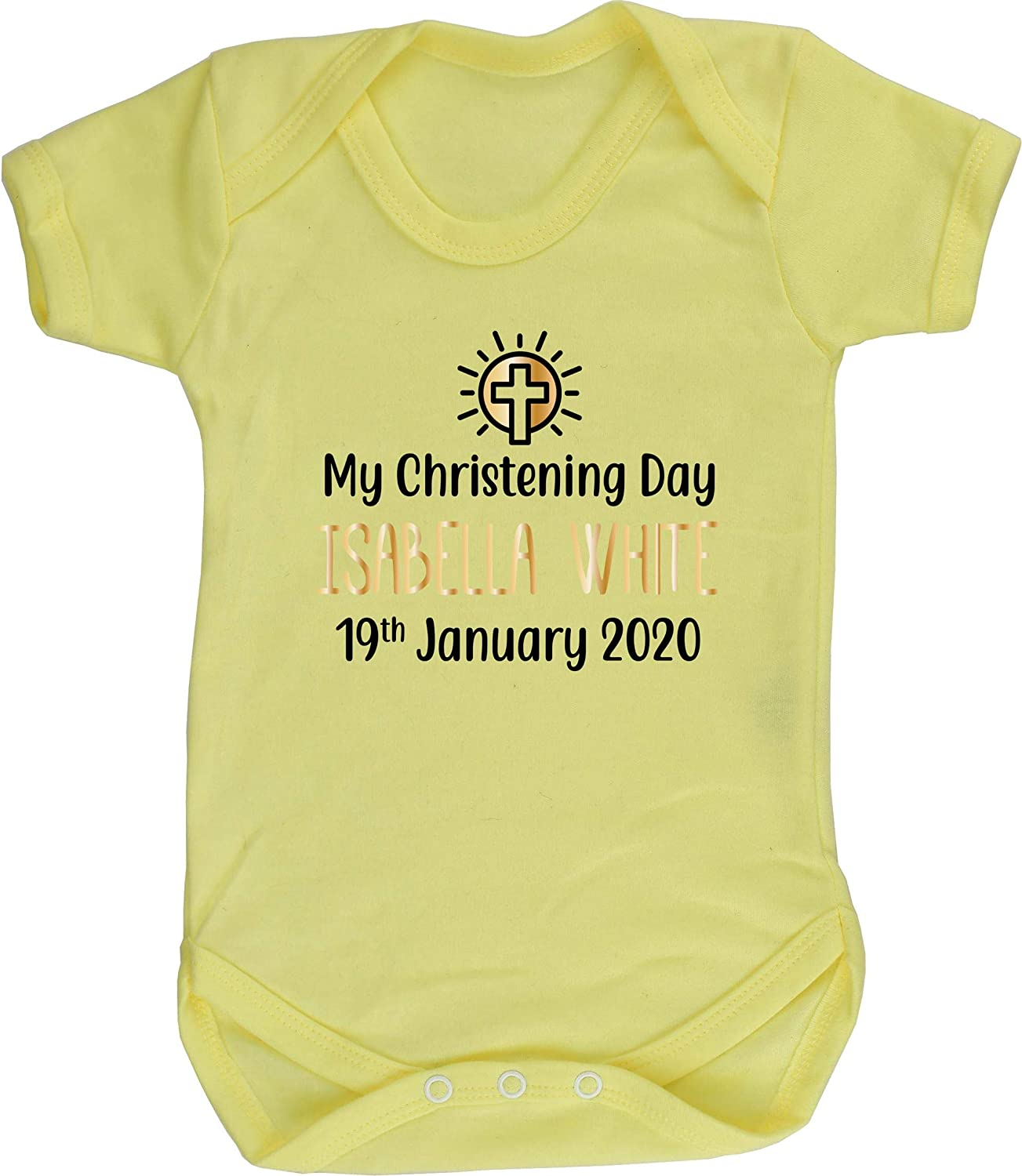 Short Sleeve Boys Girls Hippowarehouse Personalised My Christening Day Your Name Any Date Baby Vest Bodysuit