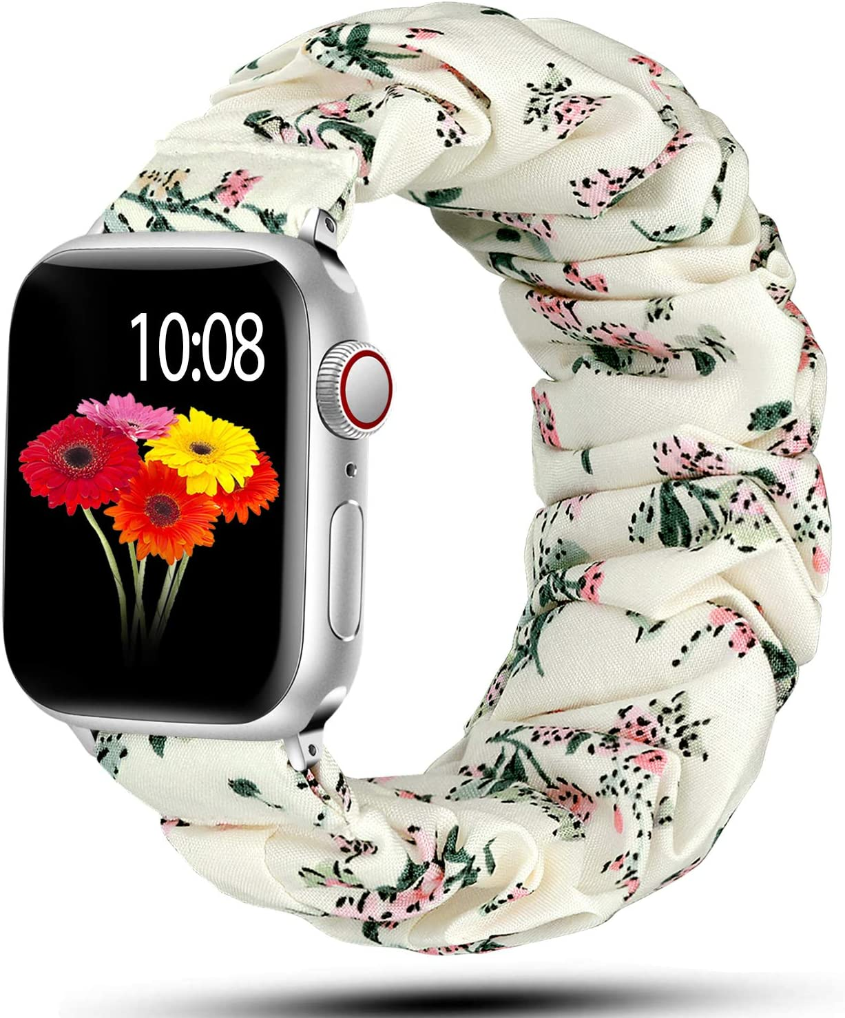 Muranne Scrunchie Band Compatible for Apple Watch 38mm 40mm Cute Solid Color Stretchy Wrist Strap Bracelet for iWatch SE & Series 6 5 4 3 2 1 Wildflowers 38mm/40mm Small