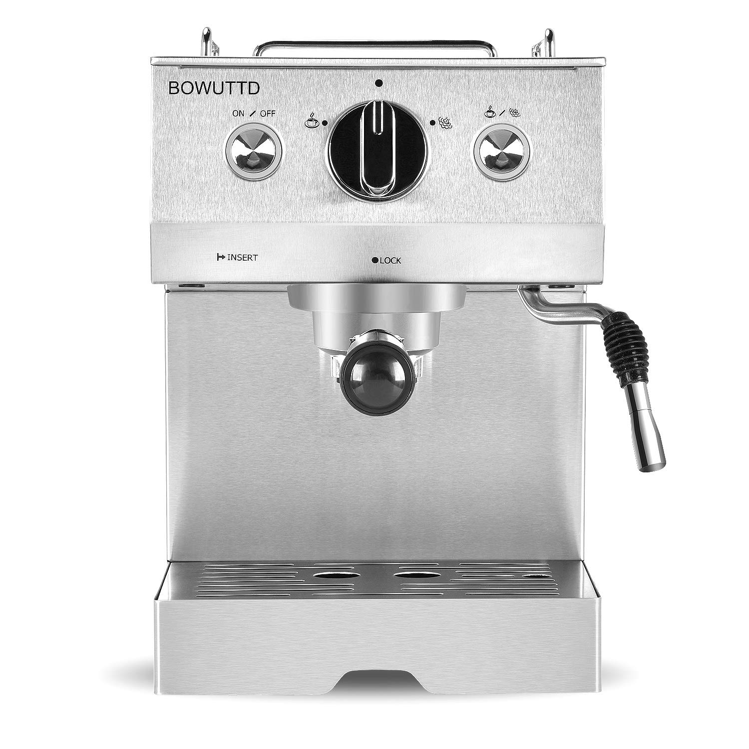 BOWUTTD Espresso Machine Coffee Maker, 1.25L Coffee Machine,Cappuccino, Latte, Moka and Espresso Maker with Milk Frothing Arm for Home and Office, 1050W, 15 Bar Pump, Silver/Stainless Steel