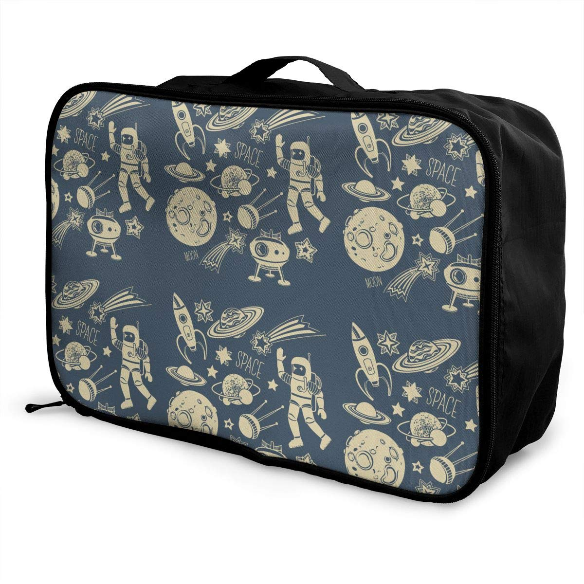 Space Astronaut Satellite Rocket Travel Pouch Carry-on Duffle Bag Lightweight Waterproof Portable Luggage Bag Attach To Suitcase