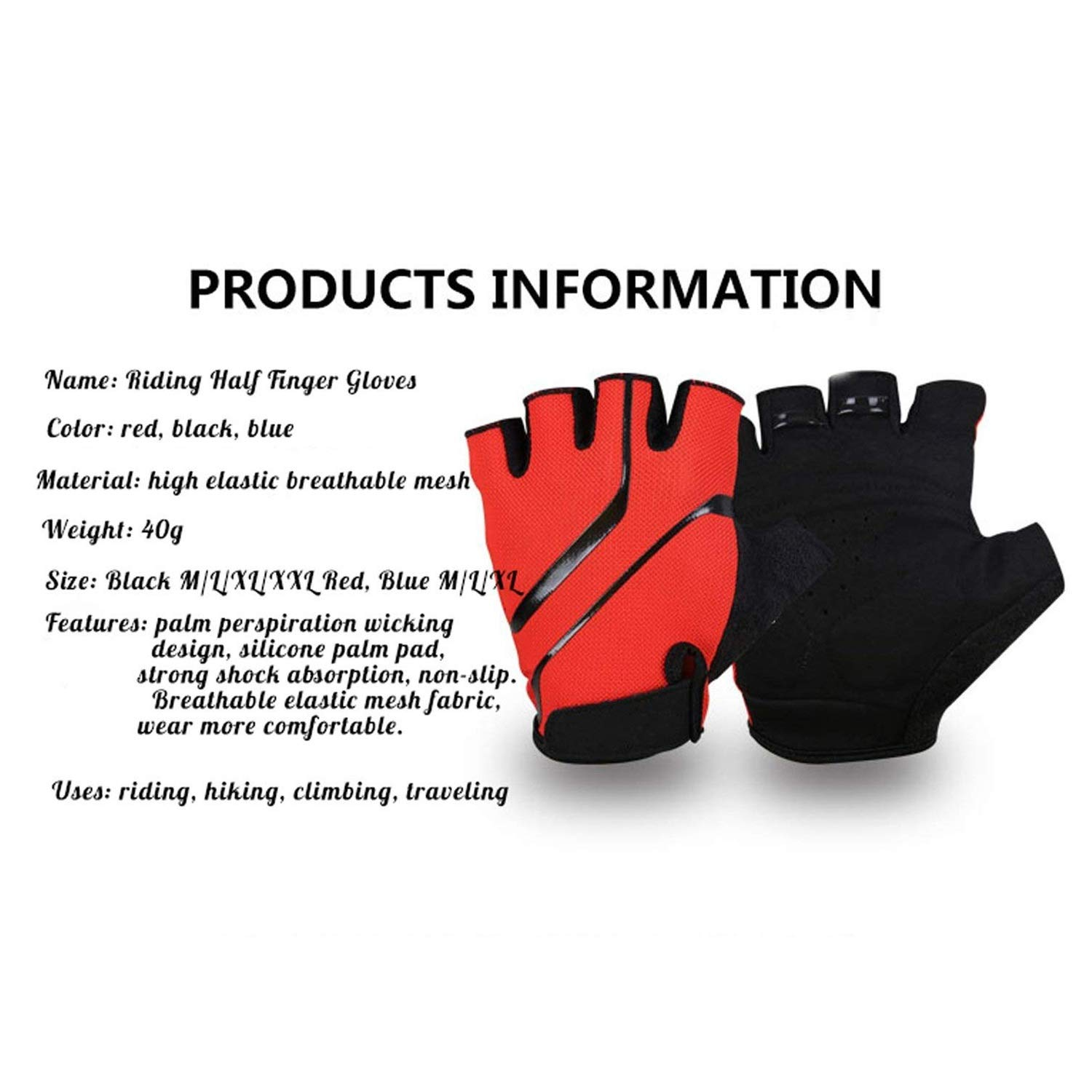 Silicone Bicycle Half Finger Sport Gloves Anti-slip Breathable Mesh Riding Glove