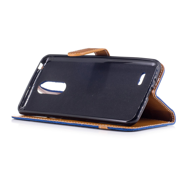 Denim gris Housse de Protection Coque /Étui Case Cover avec Stand Support Avec des Cartes de Cr/édi Coque LG K4 2017,Ecoway/étui en cuir PU Couleurs m/élang/ées denim /étui de t/él/éphone Portefeuille Etui
