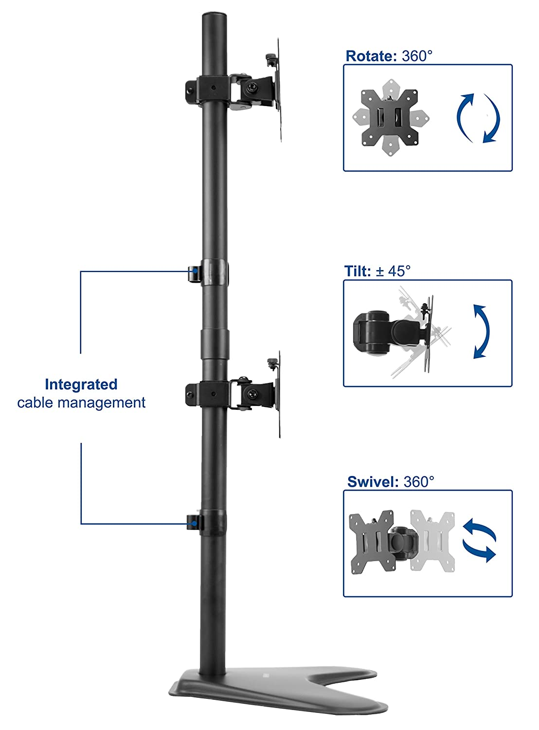STAND-V002L VIVO Dual Monitor Desk Stand Free-standing LCD mount Holds in Vertical Position 2 Screens up to 30