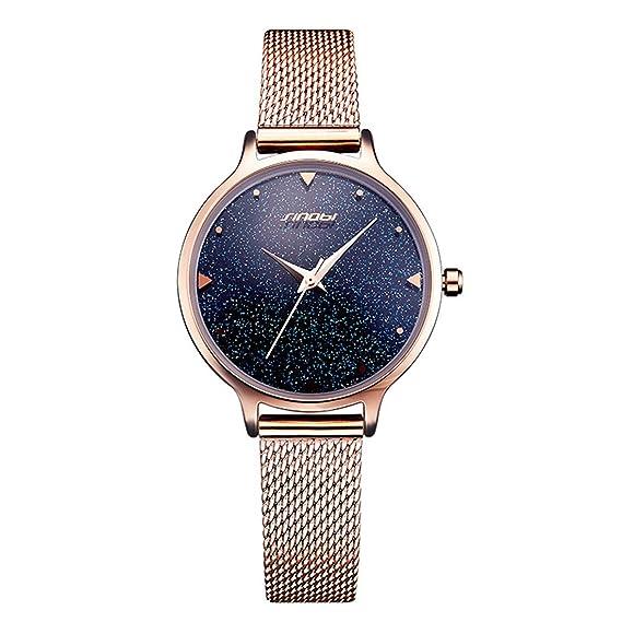 Sinobi relojes elegante estrellas cielo estrellado de la mujer Dial correa de acero de lujo resistente al agua reloj de pulsera: Amazon.es: Relojes