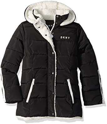 0ceeb65ad95 Amazon.com: DKNY Girls' Bubble Jacket with Zipper Cuffs: Clothing