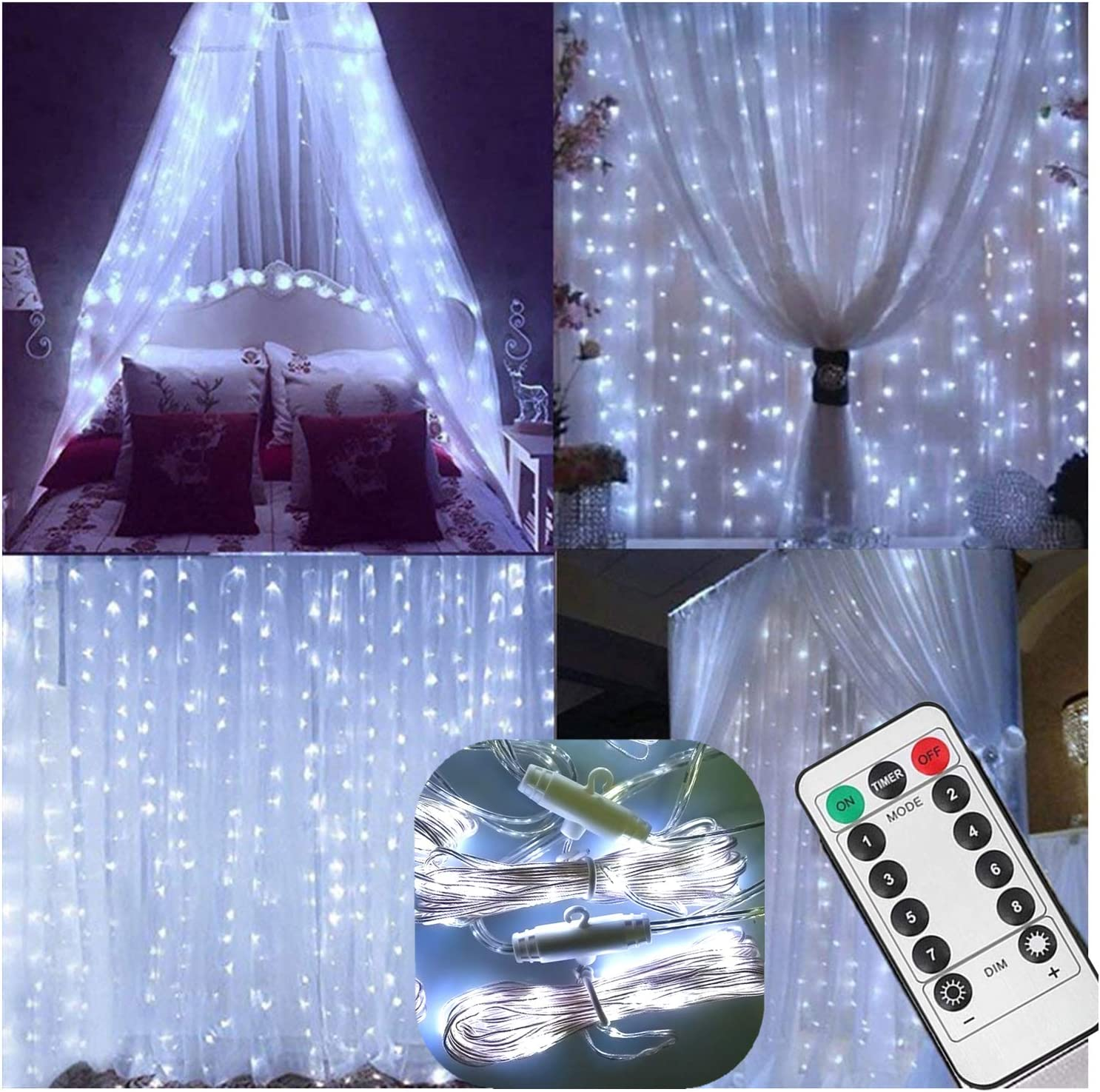 Curtain String Lights with Remote,Battery Operated,6.5ft x 6.5ft,200 LED Backdrop Icicle Fairy Lights for Wedding Shower Reception Daughter Kids Room Christmas Tree Decor - Timer,8 Mode,Dimmable,White