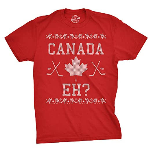 63801fdcf Mens Canada Eh Ugly Christmas Sweater Canadian Pride Holiday T Shirt (Red)  - S