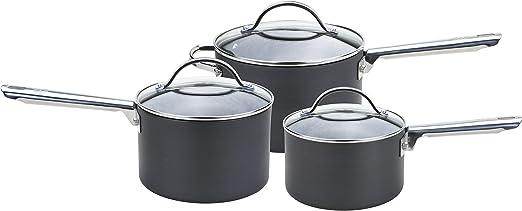 Black Anolon 3pc Saucepan Set Professional Hard Anodised Aluminium /& Glass Lids