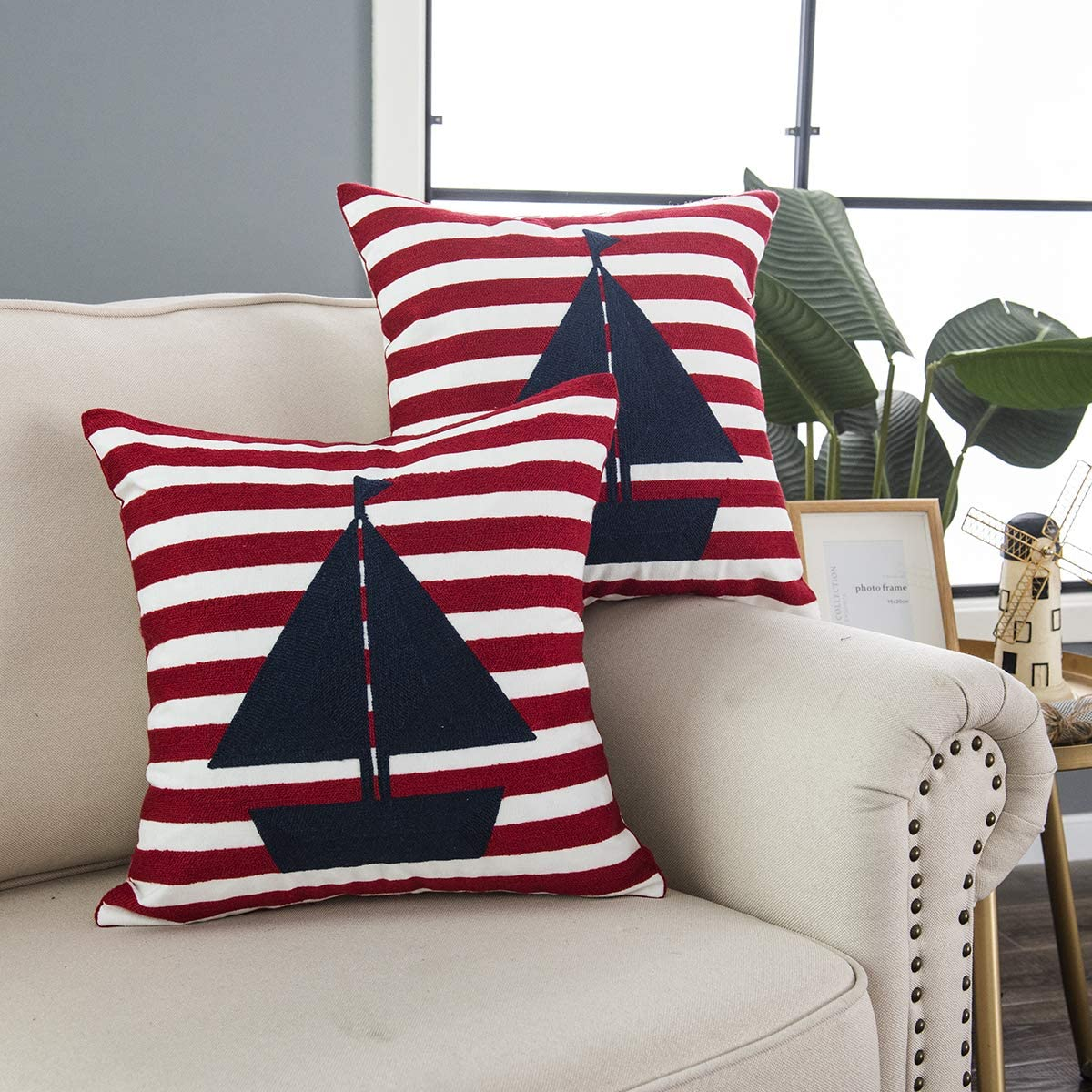 """Taisier Home Sailing Boat Pattern Square Sofa Throw Pillow Cover Set of 2 Pieces,Nautical Theme Embroidered Throw Pillow Covers Cushion Cases Textured (18""""x18"""",2pack, Navy&Red)"""