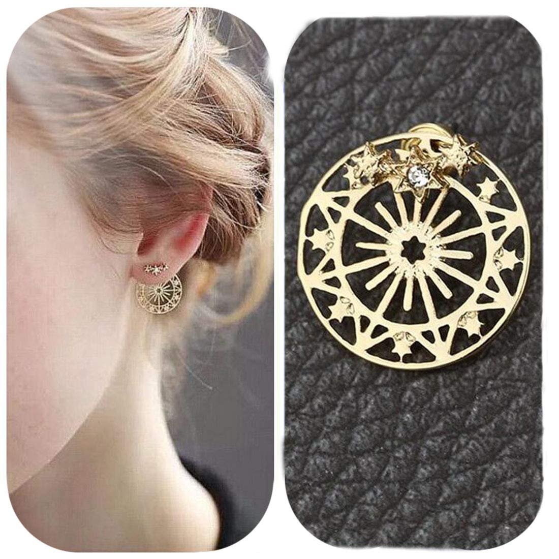Eoumy Women Star Sun Ear Jacket Earrings for Women Hollow Out Round Constellation Dangle Crystal Star Stud Earrings