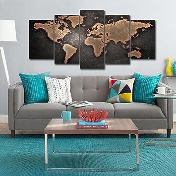 Amazon.com: 5 Pcs Modern World Map Wall Art Painting Black ...