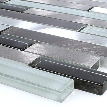 Mosaikfliesen Glas Alu Braun Schwarz Weiss Silber Bad Küchen Dusch Deko  Mosaik