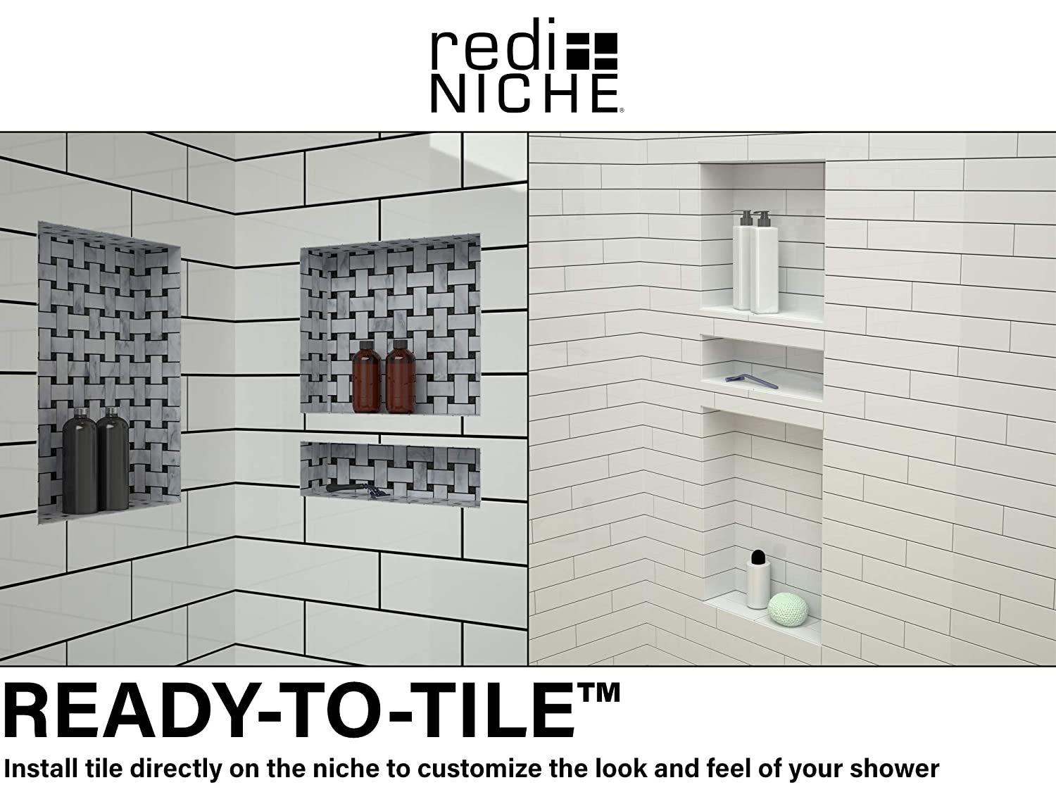 Redi Niche Double Recessed Shower Shelf   Black, Two Inner Shelves With  Divider, 16 Inch Width X 20 Inch Height X 4 Inch Depth   Shower  Installation Kits ...