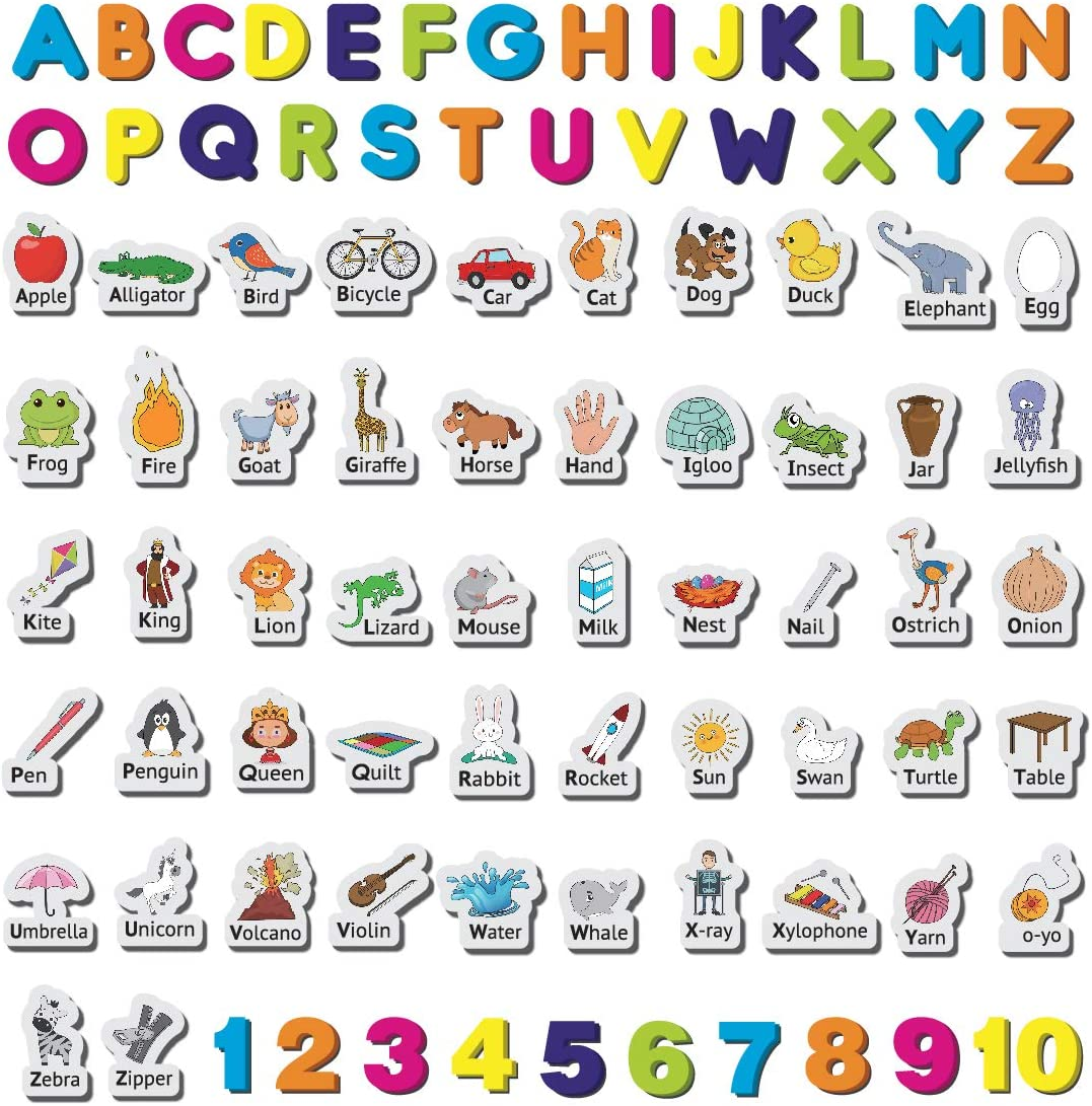 Little Champion Reader Fridge Magnets for Kids Set #2 - Alphabet ABC Letters, Alphabet Objects & 1-10 Numbers - 88 Large Fridge Magnets for Toddlers