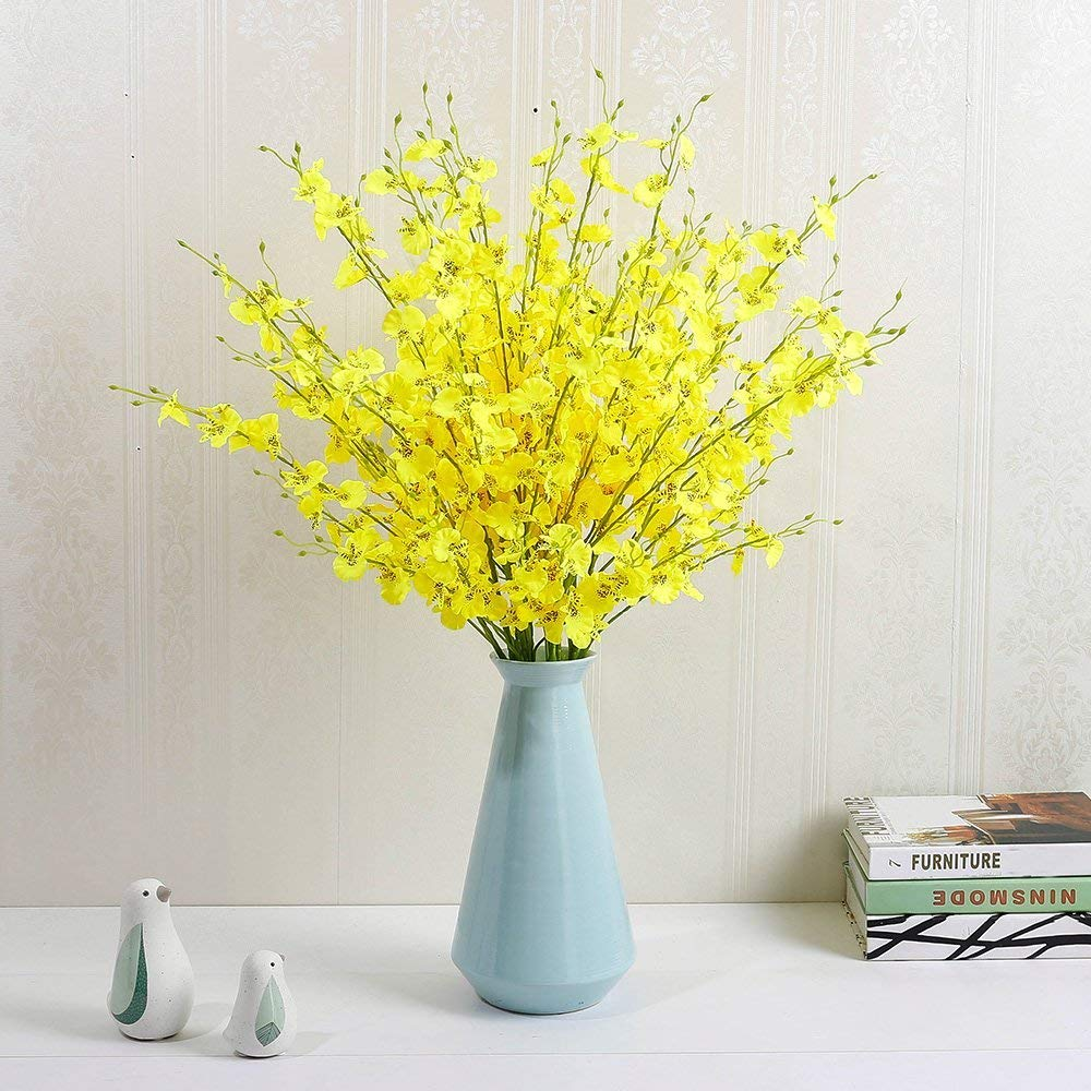 YILIYAJIA Artificial Flowers Bouquets Fake Bridal Silk Butterfly Dancing Lady Orchid Flowers in Vase,Oncidium Floral for Wedding Home Office Decoration(8 pcs) (Light Yellow)