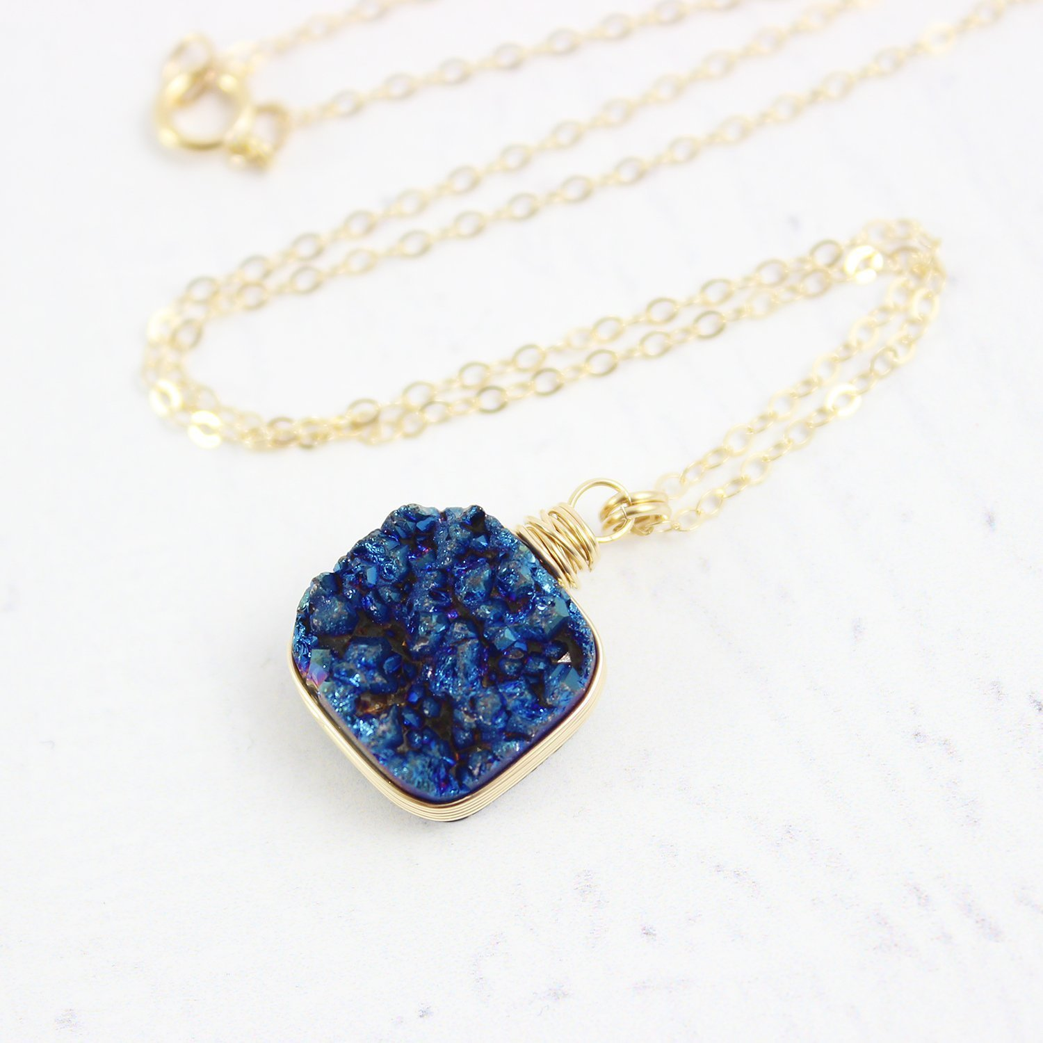 Dark Blue Drusy Quartz Gold Fill Necklace - 18 Length